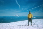 Atop Mount Adams with Mount Rainier in the distance